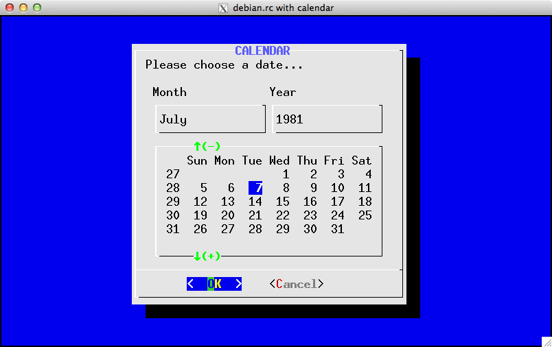 Example of Debian color-scheme with calendar widget