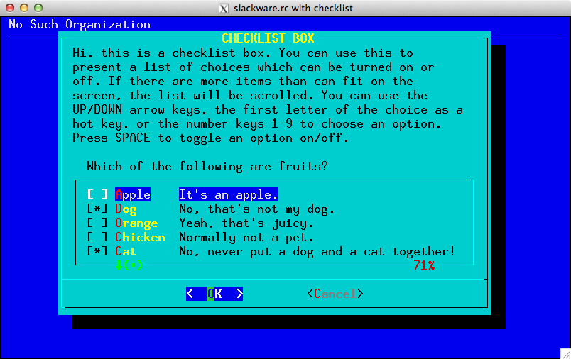 Example of Slackware color-scheme with checklist widget