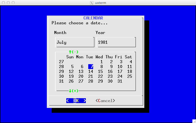 Example of Calendar widget