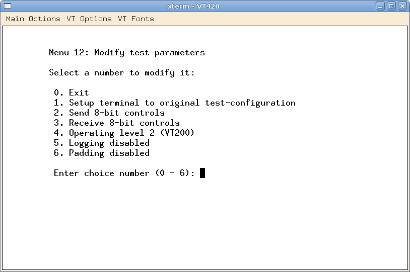 Menu for Modifying Test Parameters